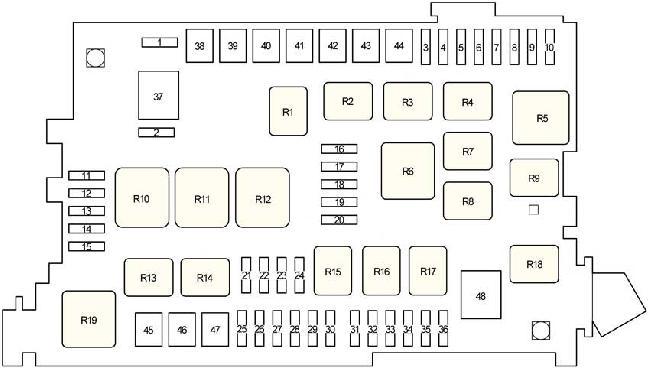 Схема блока предохранителей под капотом Тойота Прадо 120
